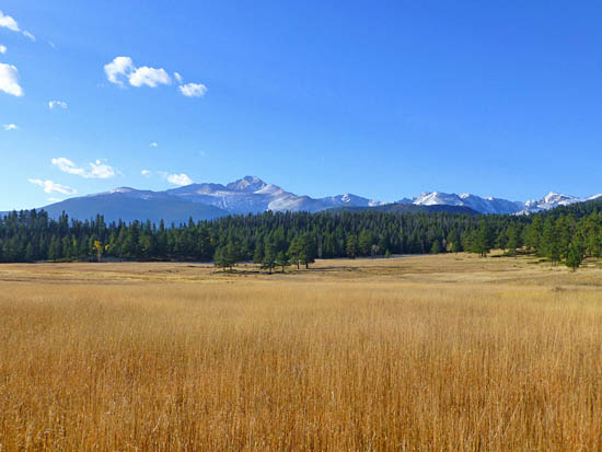 Large meadows and views of Longs Peak (14,259') on the Beaver Mountain Trail